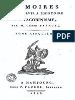 Barruel Augustin-Mémoires pour servir à l'histoire du jacobinisme-Tome 5