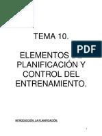TEMA 10 ELEMENTOS DE PLANIFICACIÓN Y CONTROL DEL ENTRENAMIENTO