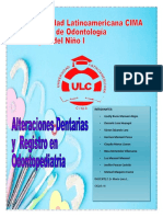 ALTERACIONES DENTARIAS Y  REGISTRO EN ODONTOPEDIATRIA