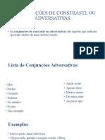 AS CONJUNÇÕES DE CONSTRASTE OU ADVERSATIVAS
