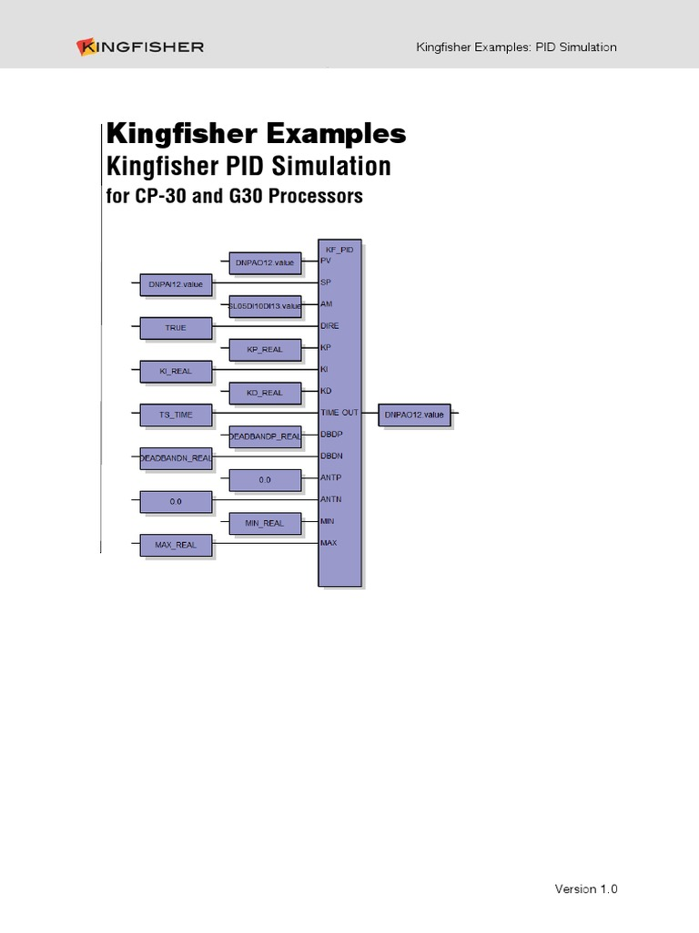Kingfisher Examples - PID Simulation   Comma Separated Values   Technology