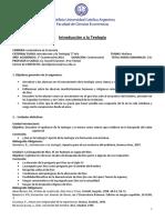 Introd a la teología - Licenciatura en Economía - Lic Daniel Graneros - 2016 - 1° Cuatrimestre