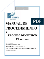PLANTILLA PARA ELABORAR MANUAL DE PROCEDIMIENTOS  IREN EMERGENCIA