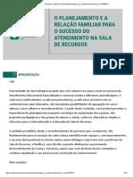 O PLANEJAMENTO E A RELAÇÃO FAMILIAR PARA O SUCESSO DO ATENDIMENTO NA SALA DE RECURSOS