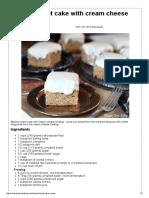 keke de platano con frosting de queso