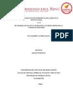 SISTEMATIZACION DE EXPERIENCIA DE LA PRACTICA INSTITUCIONAL