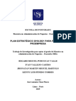 """2019_puruguay-Valle (1). """"Plan Estrategico 2018 – 2021 Para Financiera Proempresa. Jose Chou"""