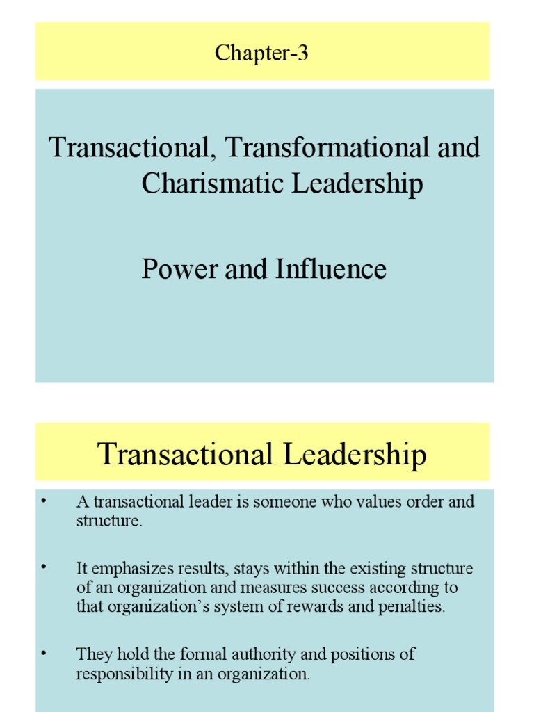 Power and Influence   Charisma   Transformational Leadership
