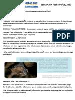 SEMANA 9 SEGUIMIENTO DE LA SESIÓN DE CIENCIA Y TECNOLOGIA 4 DE JUNO 2020