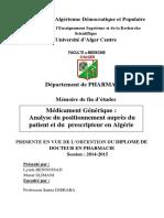 Médicament générique Analyse du positionnement auprès des patients et des prescripteurs en Algérie - Copie.pdf