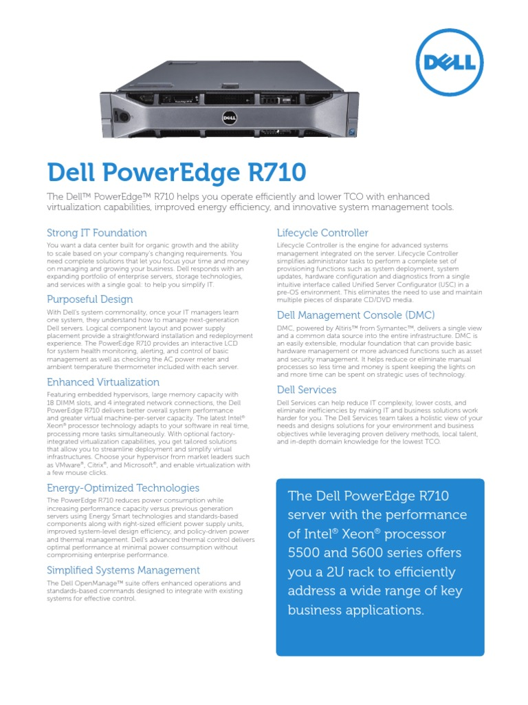 Server Poweredge r710 Specs En | Hyper V | Virtualization