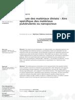 Texture des matériaux divisés- Aire spécifique des matériaux pulvérulents ou nanoporeux