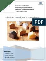 Les isolants thermiques et acoustiques
