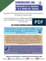 Afiches Recomendaciones 206 sobre la eliminación de la violencia y el acoso en el mundo del trabajo