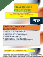 GENERALIDADES DEL PRESUPUESTO
