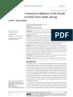 2015 Teacher Stress Inventory-Validation of the Greek version