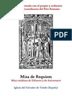Requiem. Misa Cotidiana y de Aniversario. Propio y Ordinario de la santa misa rezada