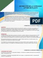 PIN - Presentacion Nº3 - ESTIMACIÓN DE LA CAPACIDAD OPTIMA DE PLANTA
