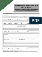 Formulario Registral n 2 Ley 27157