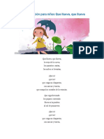 Letra de la canción para niños Que llueva