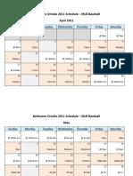 Baltimore Orioles 2011 Schedule - MLB Fantasy Baseball - American (AL) League