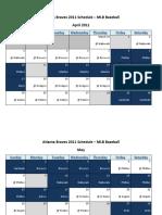 Atlanta Braves 2011 Schedule - MLB Fantasy Baseball - National (NL) League
