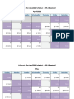 Colorado Rockies 2011 Schedule - MLB Fantasy Baseball - National (NL) League