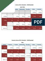 Houston Astros 2011 Schedule - MLB Fantasy Baseball - National (NL) League