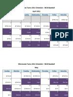 Minnesota Twins 2011 Schedule - MLB Fantasy Baseball - American (AL) League
