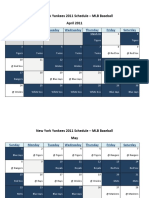 New York Yankees 2011 Schedule - MLB Fantasy Baseball - American (AL) League