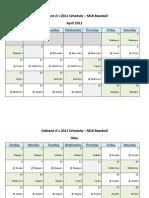 Oakland Athletics (A's) 2011 Schedule - MLB Fantasy Baseball - American (AL) League