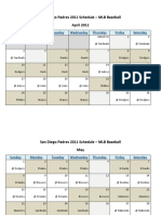 San Diego Padres 2011 Schedule - MLB Fantasy Baseball - National (NL) League