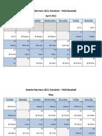 Seattle Mariners 2011 Schedule - MLB Fantasy Baseball - American (AL) League