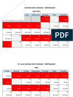 St. Louis Cardinals 2011 Schedule - MLB Fantasy Baseball - National (NL) League