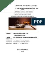 EXTINCIÓN DE DERECHO MINERO Y SU DESTINO