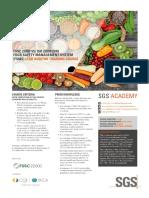 FSSC 22000 v5 Lead Auditor Training Course Flyer EN