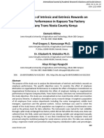 Determinants of Intrinsic and Extrinsic Rewards on Employee Performance in Kapsara Tea Factory Company Trans Nzoia County Kenya