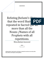 Refuting Jhelumi's Claim that the word Shaitan is repeated in Sacred Qur'an more than all the Nouns /Names of all Prophets with all repetitions.