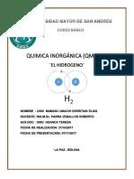 informe inorganica el hidrogeno