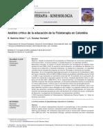 analisis critico de la educacion de fisioterapia en colombia