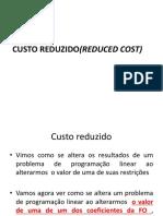 INTERPRETAÇÃO DO CUSTO REDUZIDO(REDUCED COST)