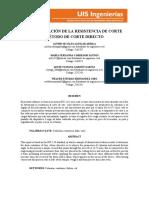 DETERMINACIÓN DE LA RESISTENCIA DE CORTE MÉTODO DE CORTE DIRECTO