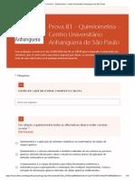 Prova B1 - Quimiometria - Centro Universitário Anhanguera de São Paulo
