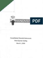 Hanover Foods Financials 03 01 2020