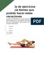 La tabla de ejercicios de Kayla Itsines que podrás hacer estas vacaciones