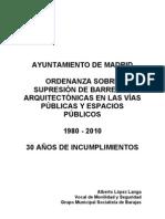 Ordenanza sobre Supresión de Barreras Arquitectónicas en las Vías Públicas y Espacios Públicos