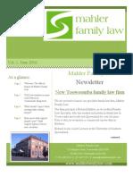 Mahler Family Law Newsletter Vol.1 - June 2010