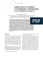 'Relationships Mean Everything'; A Typology of Small–Business Relationship Strategies in a Reflexive Context