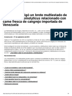 La FDA multiestado de Vibrio parahaemolyticus carne fresca de cangrejo de Venezuela