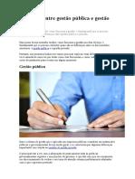 Diferença entre gestão pública e gestão privada